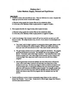 Problem Set 1 Labor Markets: Supply, Demand and Equilibrium
