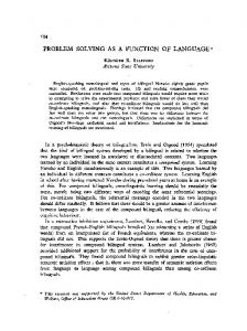 PROBLEM SOLVING AS A FUNCTION OF LANGUAGE *