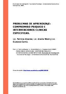PROBLEMAS DE APRENDIZAJE: COMPROMISO PSIQUICO E