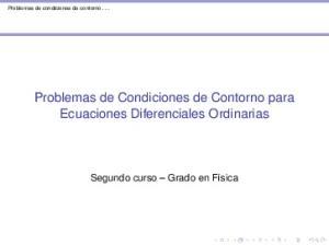 Problemas de Condiciones de Contorno para Ecuaciones Diferenciales Ordinarias