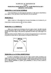PROBLEMAS PROPUESTOS EN LAS FASES PROVINCIALES Y REGIONAL DE ZAMORA