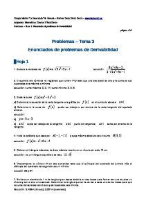 Problemas Tema 3 Enunciados de problemas de Derivabilidad