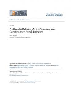Problematic Returns: On the Romanesque in Contemporary French Literature