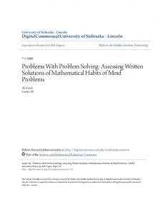 Problems With Problem Solving: Assessing Written Solutions of Mathematical Habits of Mind Problems