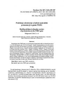 Problemy zdrowotne u kobiet nosicielek premutacji w genie FMR1