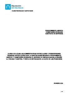 PROCEDIMIENTO ABIERTO TRAMITACIÓN ORDINARIA CONTRATO DE SERVICIOS
