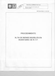 PROCEDIMIENTO ALTA DE BIENES MUEBLES EN INVENTARIO DE R.T.P