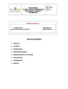 PROCEDIMIENTO CERTIFICACION DE CUMPLIMIENTO DE OBLIGACIONES LABORALES Y PREVISIONALES