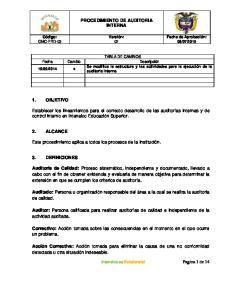 PROCEDIMIENTO DE AUDITORIA INTERNA