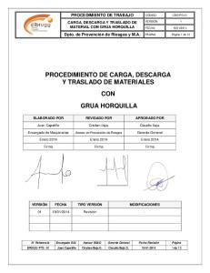 PROCEDIMIENTO DE CARGA, DESCARGA Y TRASLADO DE MATERIALES CON GRUA HORQUILLA