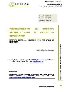 PROCEDIMIENTO DE CONTROL INTERNO PARA EL CICLO DE INVENTARIO