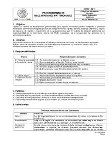 PROCEDIMIENTO DE DECLARACIONES PATRIMONIALES