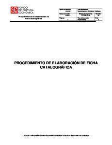 PROCEDIMIENTO DE ELABORACIÓN DE FICHA CATALOGRÁFICA