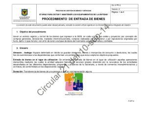 PROCEDIMIENTO DE ENTRADA DE BIENES