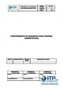 PROCEDIMIENTO DE SEGURIDAD PARA PRUEBAS HIDROSTÁTICAS