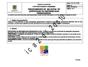 PROCEDIMIENTO DE SOLICITUD DE CERTIFICADO DE DISPONIBILIDAD PRESUPUESTAL