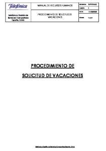 PROCEDIMIENTO DE SOLICITUD DE VACACIONES