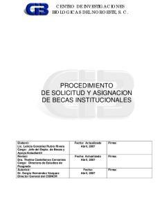 PROCEDIMIENTO DE SOLICITUD Y ASIGNACION DE BECAS INSTITUCIONALES