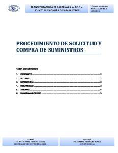 PROCEDIMIENTO DE SOLICITUD Y COMPRA DE SUMINISTROS
