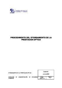 PROCEDIMIENTO DEL OTORGAMIENTO DE LA PRESTACION OPTICA