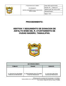 PROCEDIMIENTO: GESTION Y SEGUIMIENTO DE DONACION DE ASFALTO EKBE DEL R. AYUNTAMIENTO DE CIUDAD MADERO, TAMAULIPAS