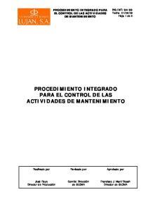 PROCEDIMIENTO INTEGRADO PARA EL CONTROL DE LAS ACTIVIDADES DE MANTENIMIENTO