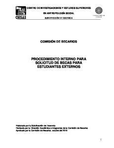 PROCEDIMIENTO INTERNO PARA SOLICITUD DE BECAS PARA ESTUDIANTES EXTERNOS