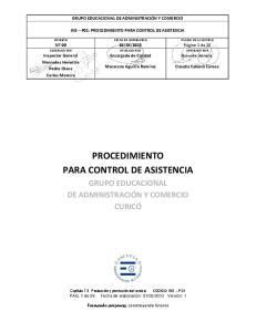 PROCEDIMIENTO PARA CONTROL DE ASISTENCIA