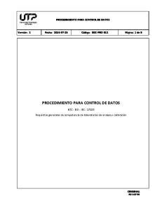 PROCEDIMIENTO PARA CONTROL DE DATOS