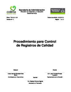 Procedimiento para Control de Registros de Calidad