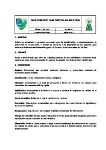 PROCEDIMIENTO PARA CONTROL DE REGISTROS