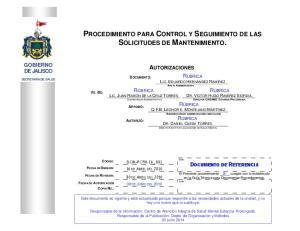 PROCEDIMIENTO PARA CONTROL Y SEGUIMIENTO DE LAS SOLICITUDES DE MANTENIMIENTO