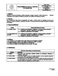 PROCEDIMIENTO PARA EL CONTROL DE REGISTROS