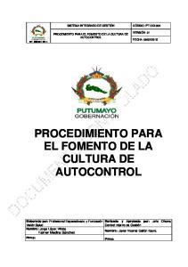 PROCEDIMIENTO PARA EL FOMENTO DE LA CULTURA DE AUTOCONTROL