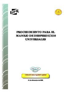 PROCEDIMIENTO PARA EL MANEJO DE DESPERDICIOS UNIVERSALES