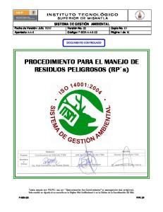 PROCEDIMIENTO PARA EL MANEJO DE RESIDUOS PELIGROSOS (RP s)