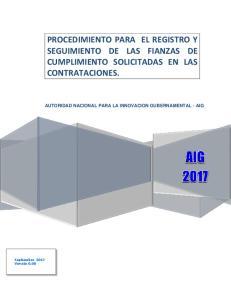 PROCEDIMIENTO PARA EL REGISTRO Y SEGUIMIENTO DE LAS FIANZAS DE CUMPLIMIENTO SOLICITADAS EN LAS CONTRATACIONES