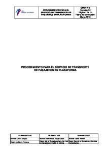 PROCEDIMIENTO PARA EL SERVICIO DE TRANSPORTE DE PASAJEROS EN PLATAFORMA