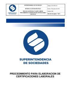 PROCEDIMIENTO PARA ELABORACION DE CERTIFICACIONES LABORALES