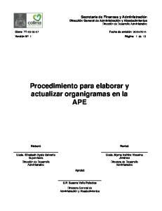 Procedimiento para elaborar y actualizar organigramas en la APE