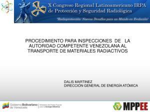 PROCEDIMIENTO PARA INSPECCIONES DE LA AUTORIDAD COMPETENTE VENEZOLANA AL TRANSPORTE DE MATERIALES RADIACTIVOS