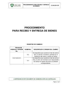 PROCEDIMIENTO PARA RECIBO Y ENTREGA DE BIENES