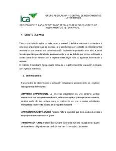 PROCEDIMIENTO PARA REGISTRO DE PRODUCTORES POR CONTRATO DE MEDICAMENTOS VETERINARIOS
