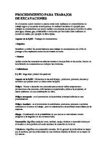 PROCEDIMIENTO PARA TRABAJOS DE EXCAVACIONES