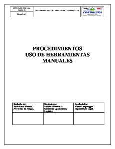 PROCEDIMIENTO USO HERRAMIENTAS MANUALES