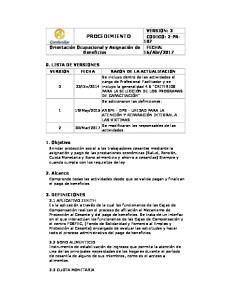 PROCEDIMIENTO VERSION FECHA RAZON DE LA ACTUALIZACION
