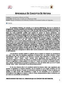 PROCEDIMIENTOS PARA EL APRENDIZAJE DE CONCEPTOS HISTORICOS