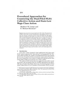 Procedural Approaches for Countering the Dual-Filed FLSA Collective Action and State-Law Wage Class Action