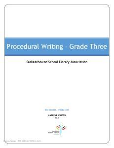 Procedural Writing Grade Three