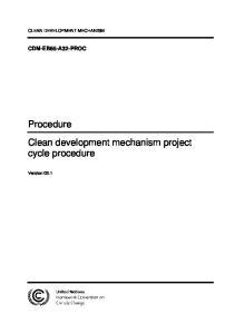 Procedure Clean development mechanism project cycle procedure